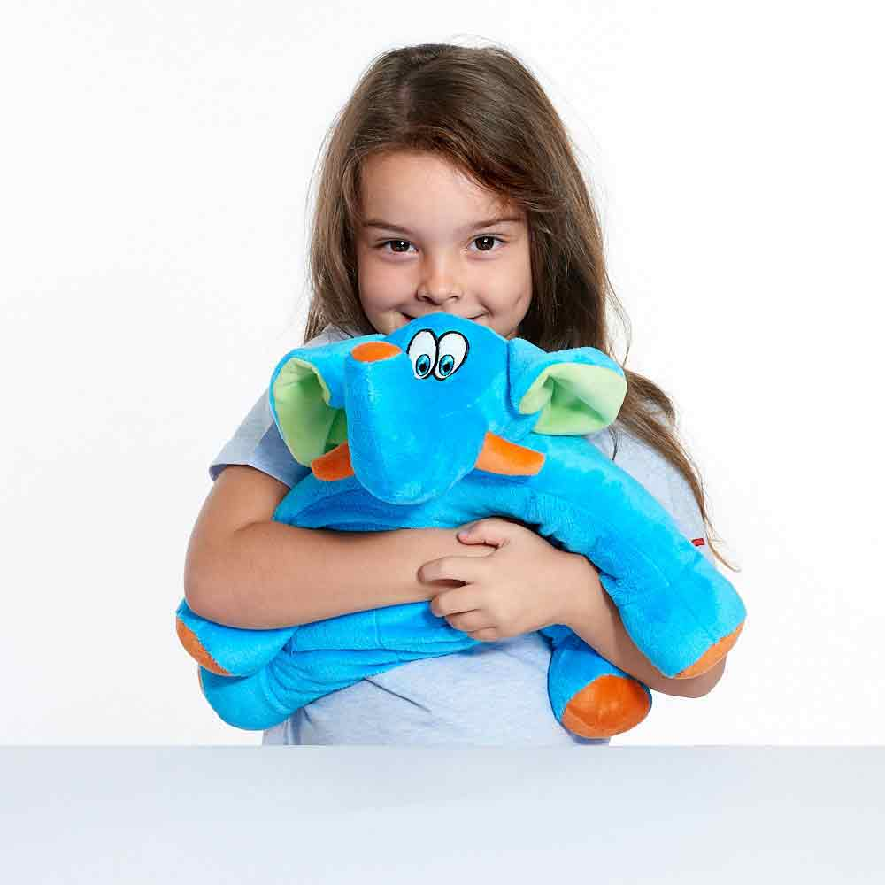 Trunky The Elephant Kids Travel Pillow Travel Blue For